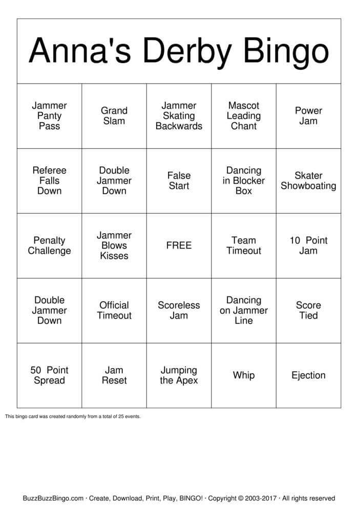 Download Anna's Derby Bridal Shower Bingo Cards