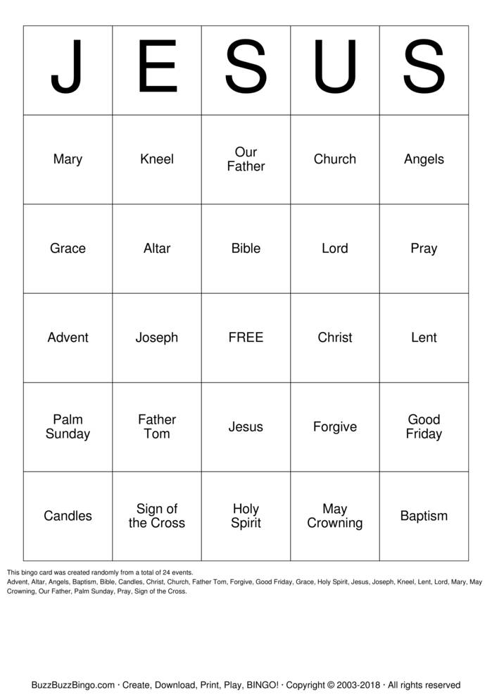 Download JESUS Bingo Cards