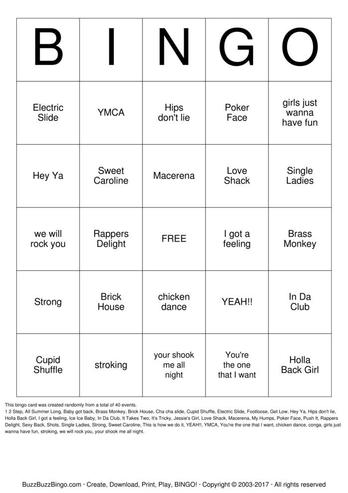 Download Rock 'N' Roll Bingo Bingo Cards