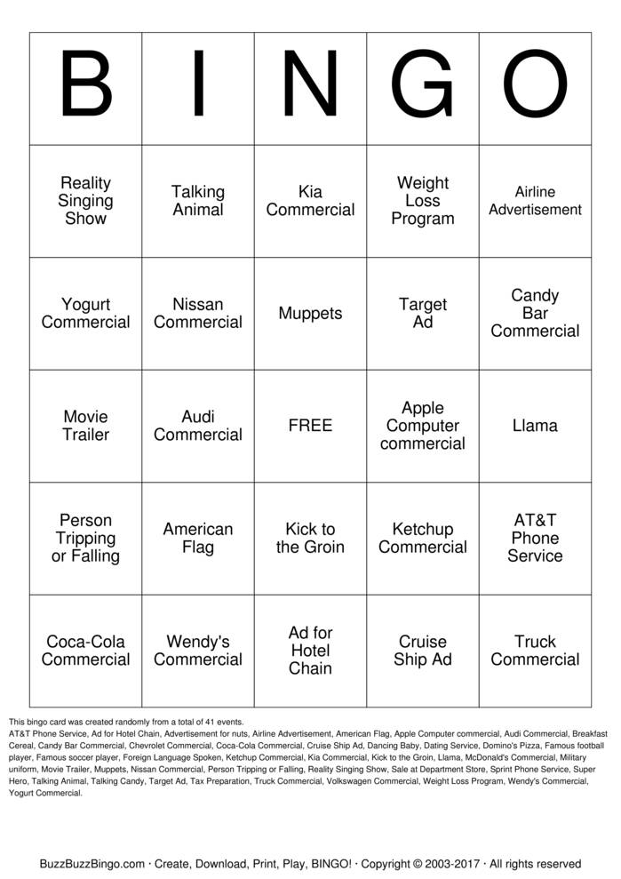 superbowl commercials bingo cards   print  customize