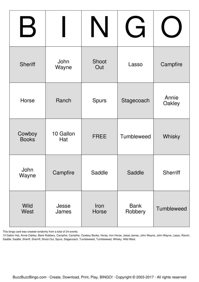 Download Western Bingo Cards