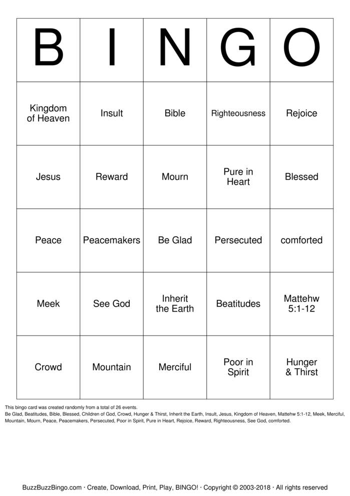 Download BEATITUDES Bingo Cards