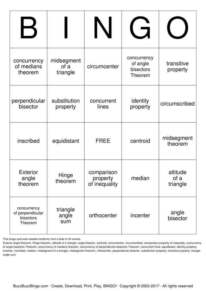 Download Geometry Vocabulary Bingo Cards