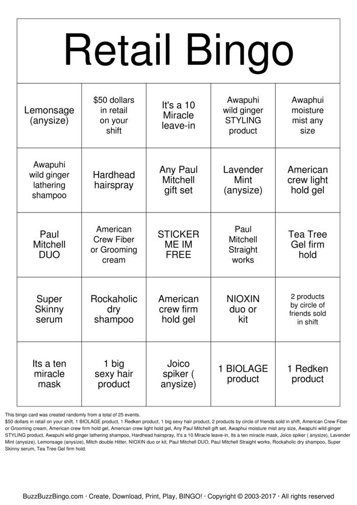 retail bingo cards to download  print and customize