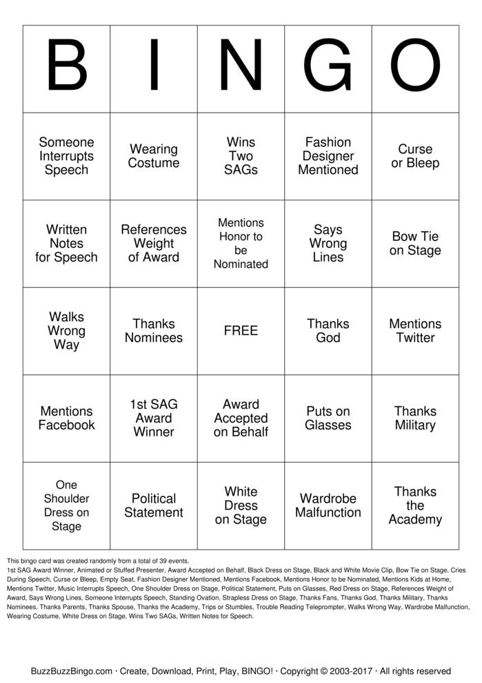 Screen Actors Guild Bingo Card