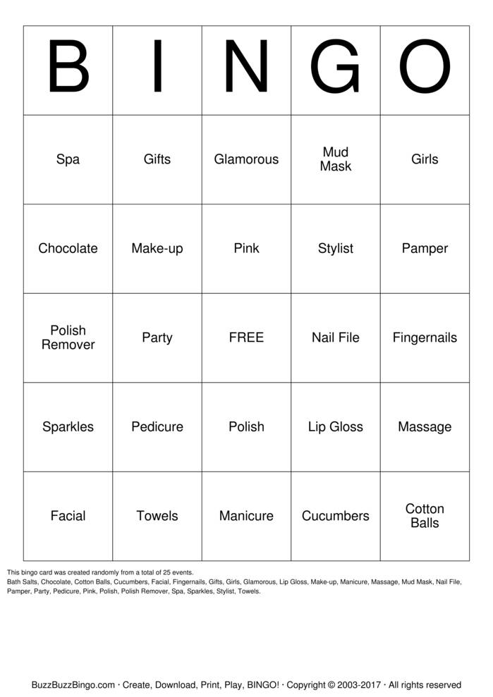 Download Spa Party Bingo Cards