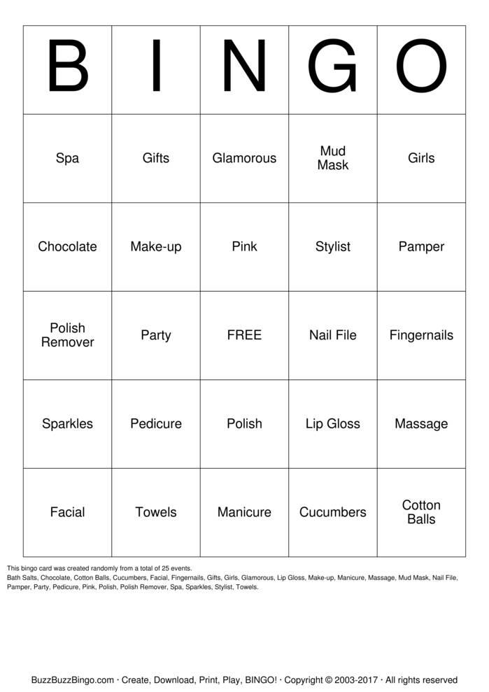 Spa Party Bingo Card