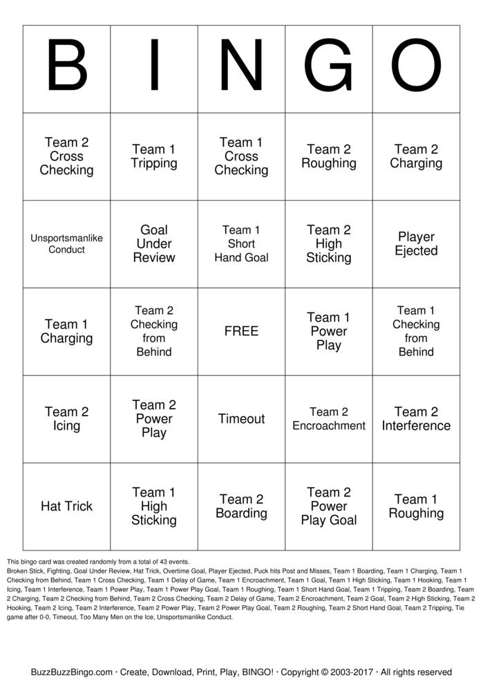 Download Stanley Cup Bingo Cards