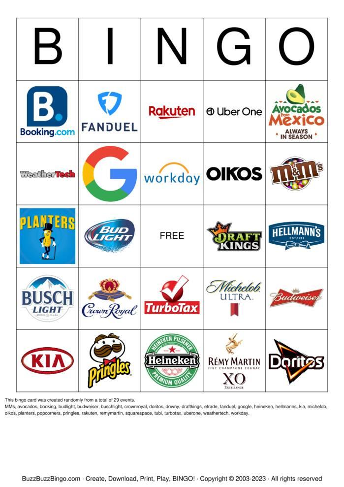 Superbowl Commercials Images Bingo Cards To Download