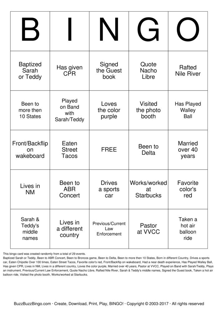 Download Wedding Guest Bingo Bingo Cards
