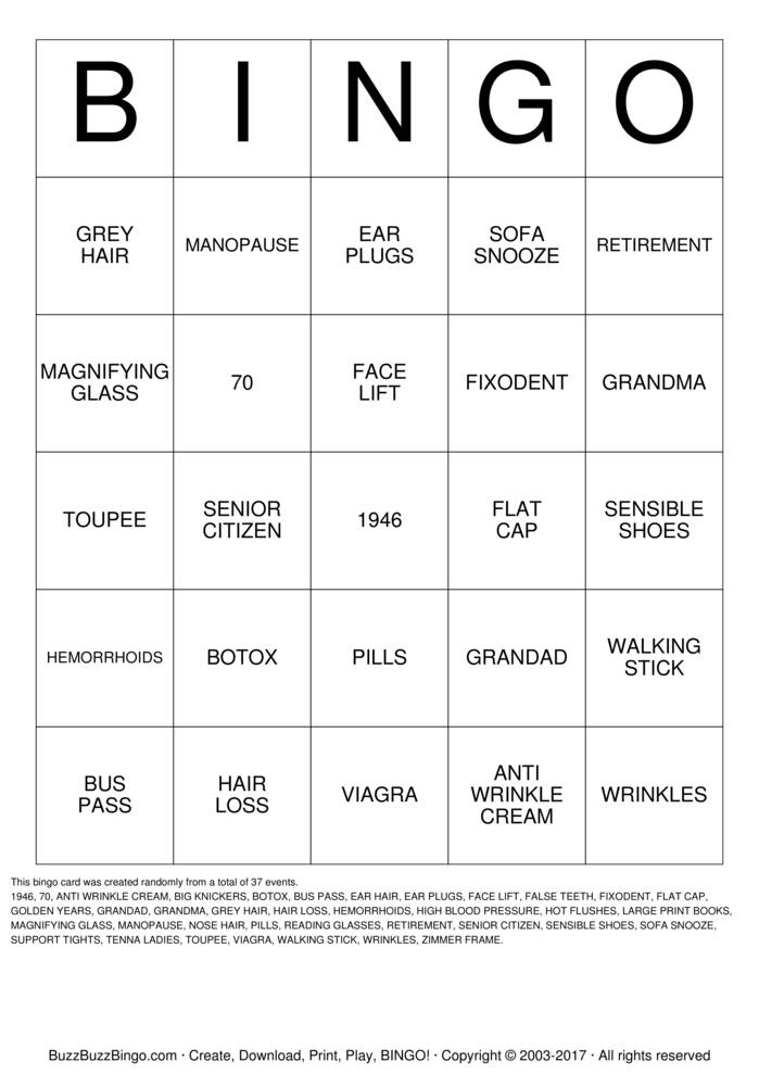Download ANN'S OVER THE HILL Bingo Cards