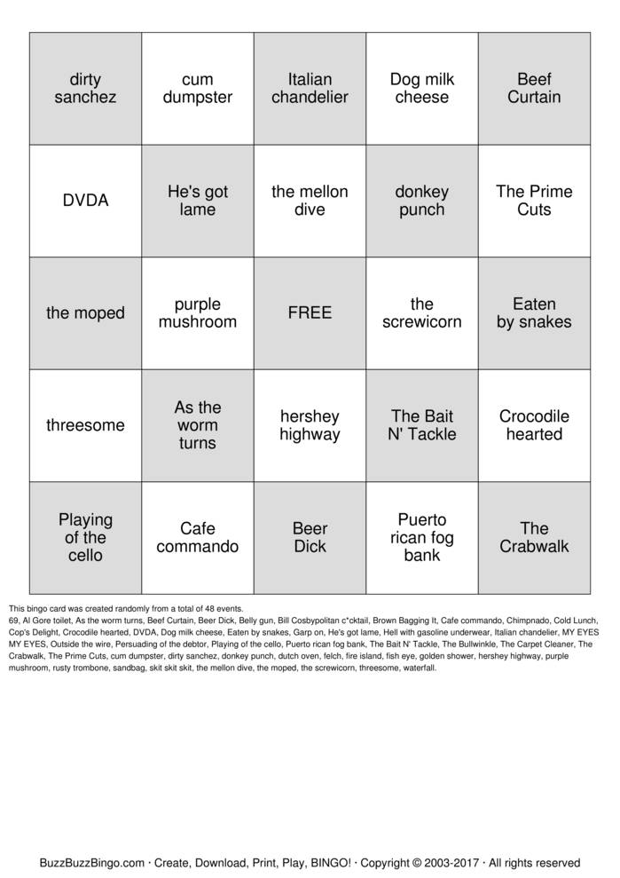 Download DIRTY Bingo Cards