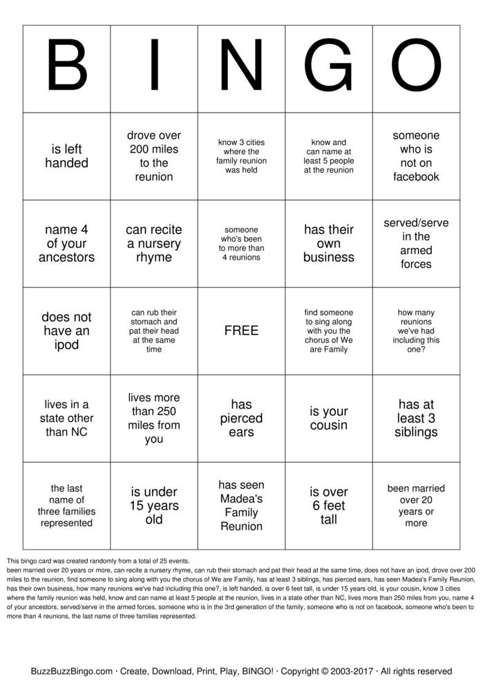 Download Rodgers Family Reunion  Bingo Cards