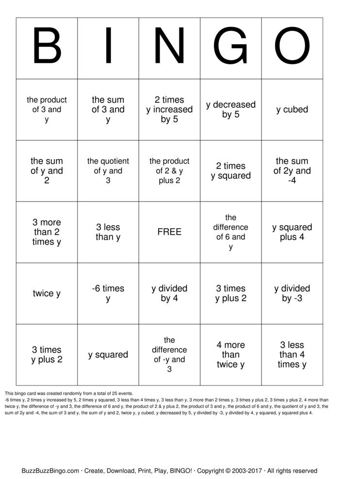 Download Translating Expressions Bingo Cards