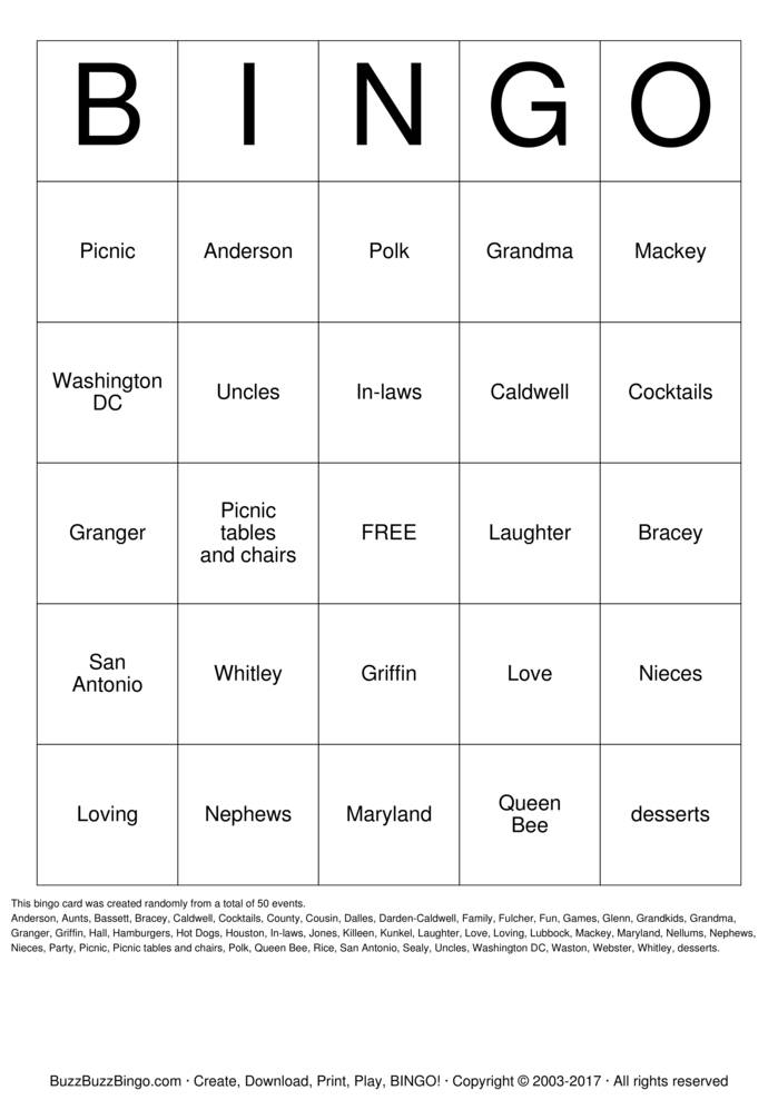Download Anderson's BINGO  Bingo Cards