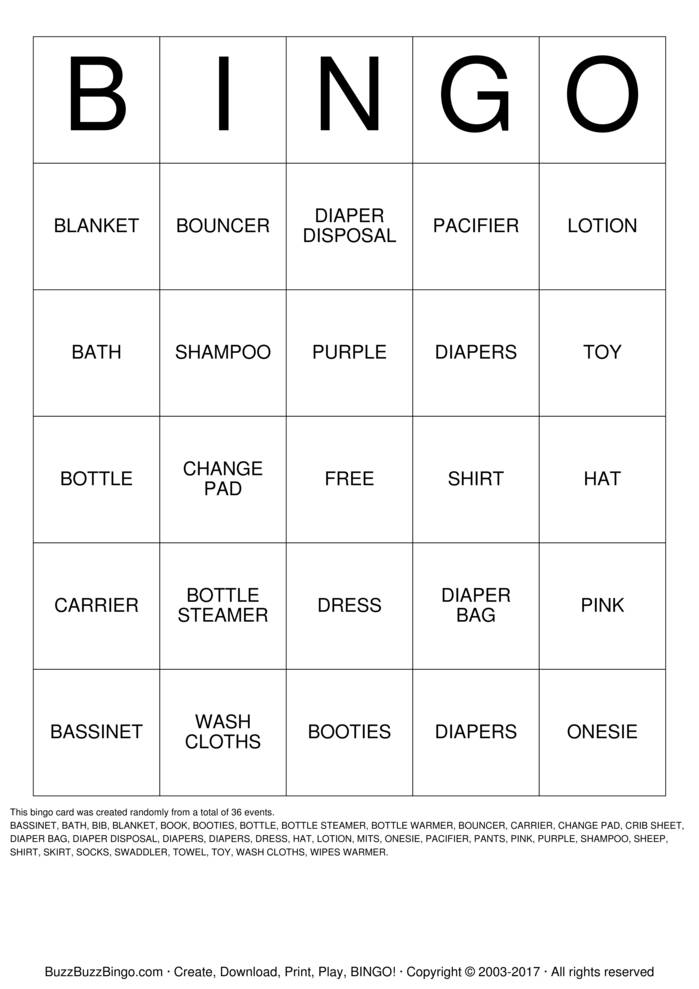 Download BABY SHOWER GIFT BINGO Bingo Cards