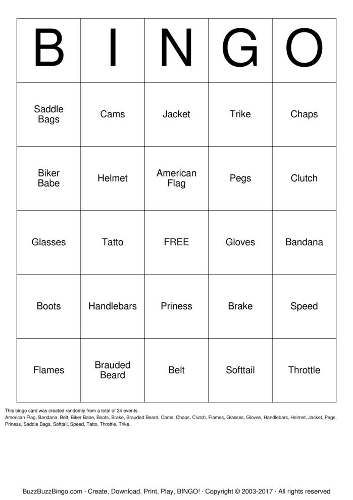 Download Biker  Bingo Cards