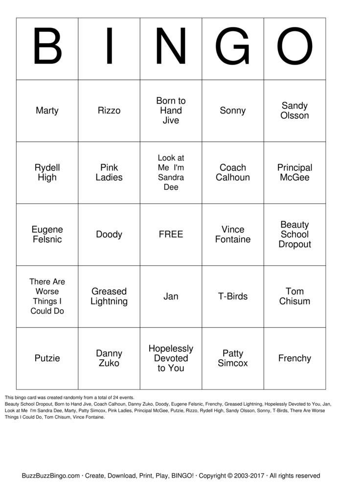 Download Grease Bingo Cards