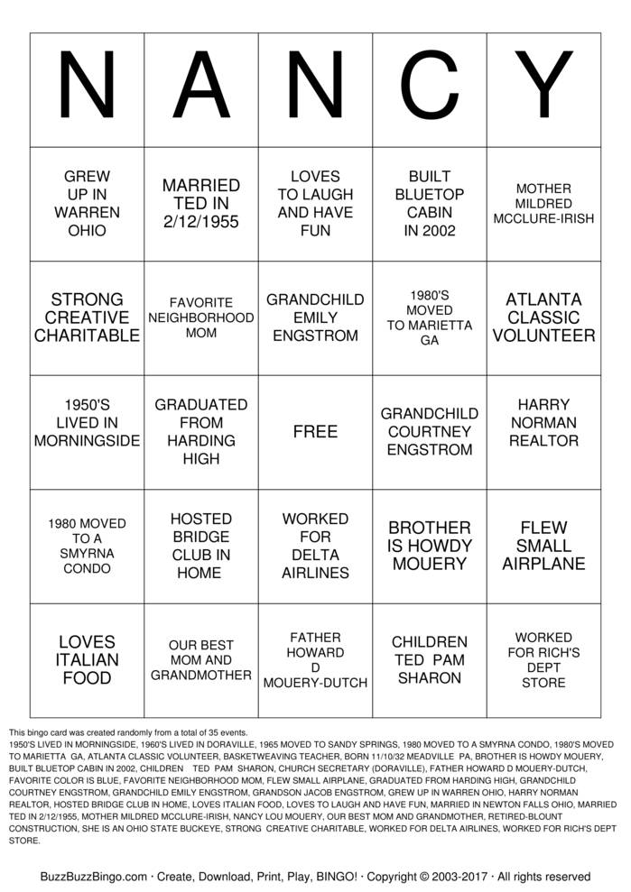 NANCY Bingo Card