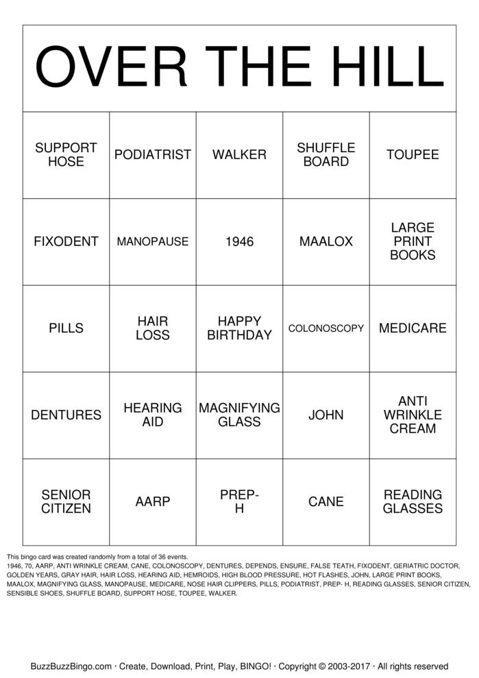 Download OVER THE HILL Bingo Cards