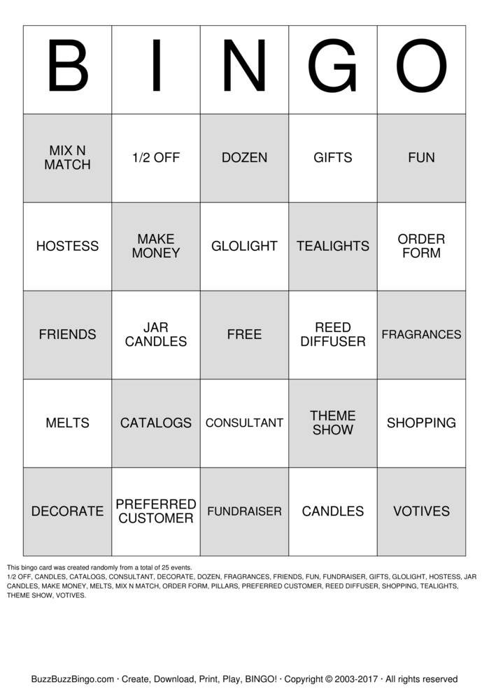 PARTYLITE Bingo Cards to Download, Print and Customize!
