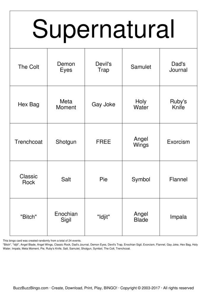 Download supernatural Bingo Cards