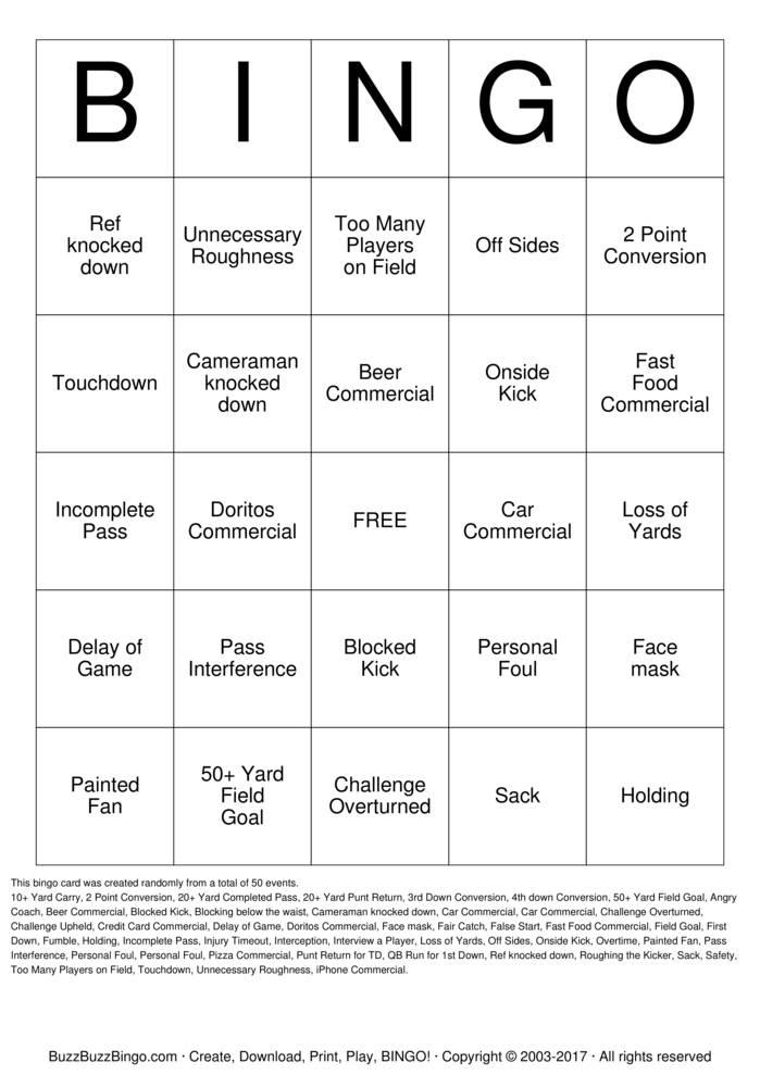 Bobby\'s Quarterback Bingo Bingo Card