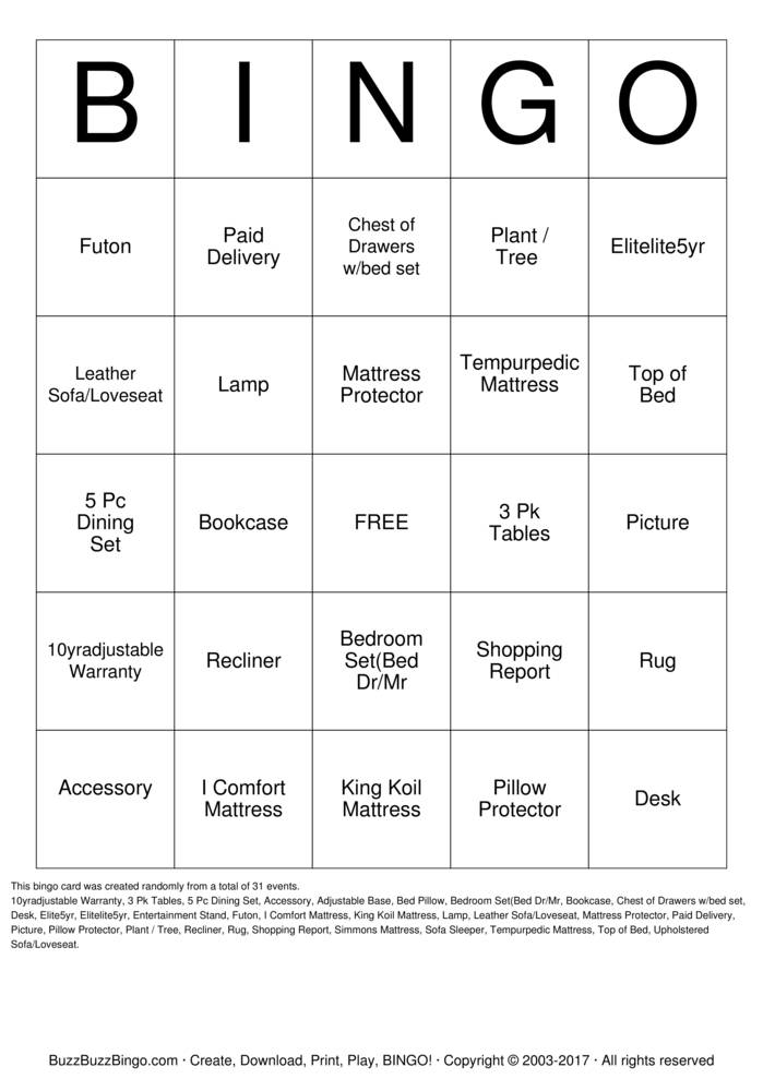 Furniture Bingo Bingo Cards To Download Print And Customize