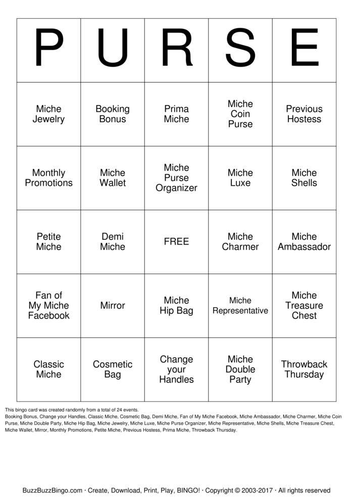 Download Miche Purse Party Bingo Cards