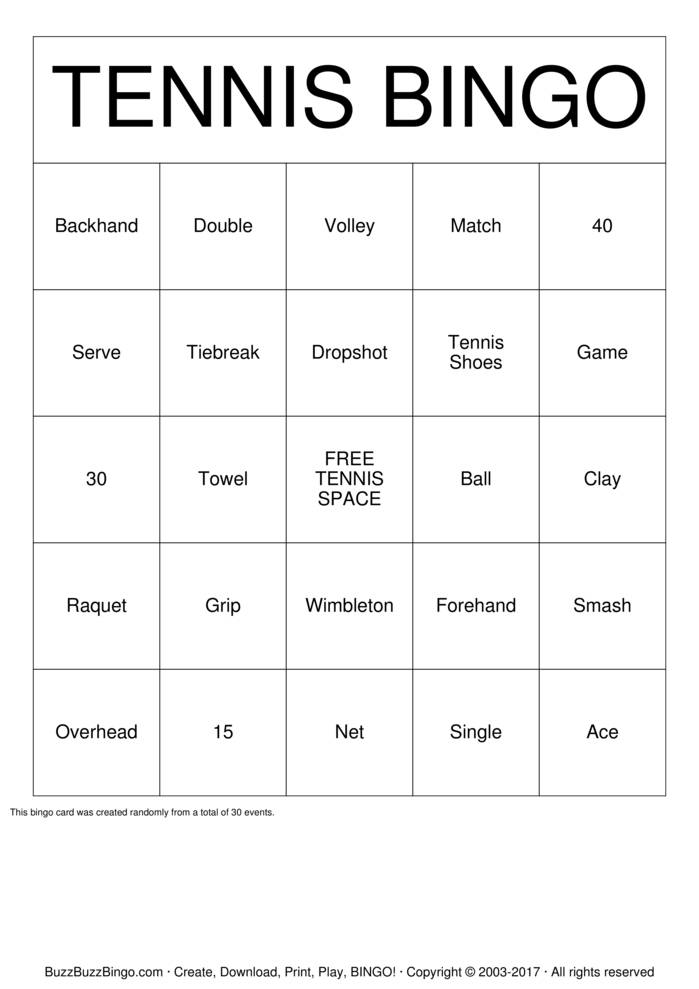 Tennis Bingo Bingo Card