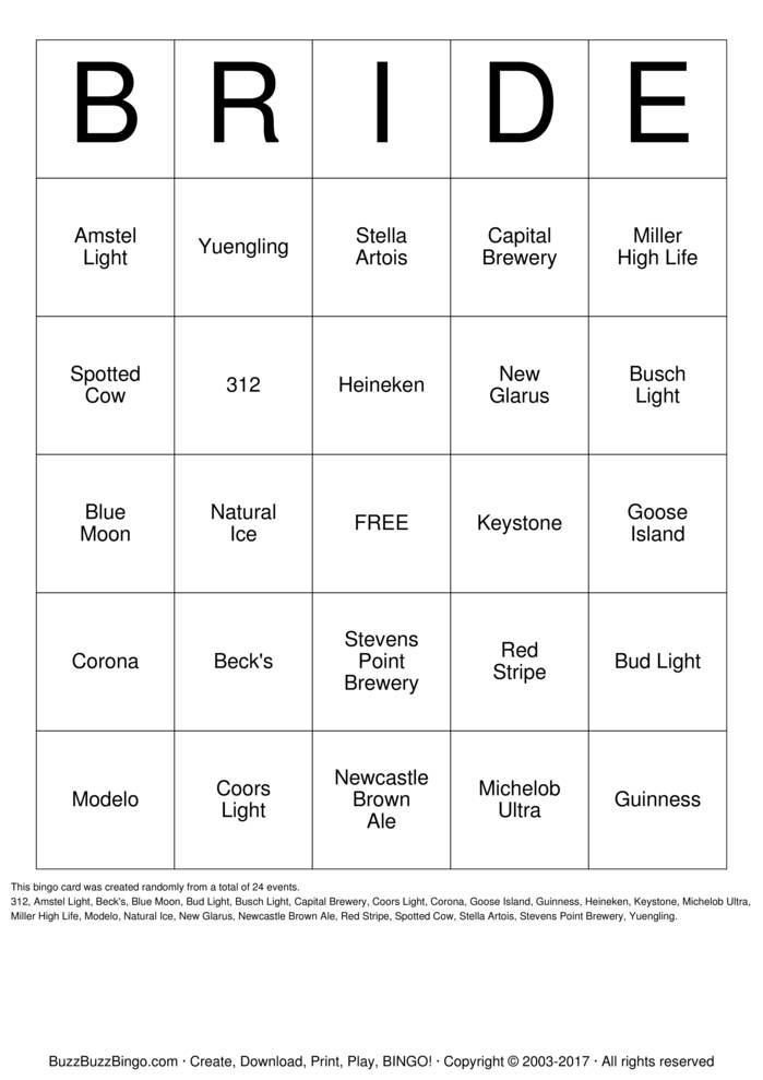 Download Bride Bingo Cards