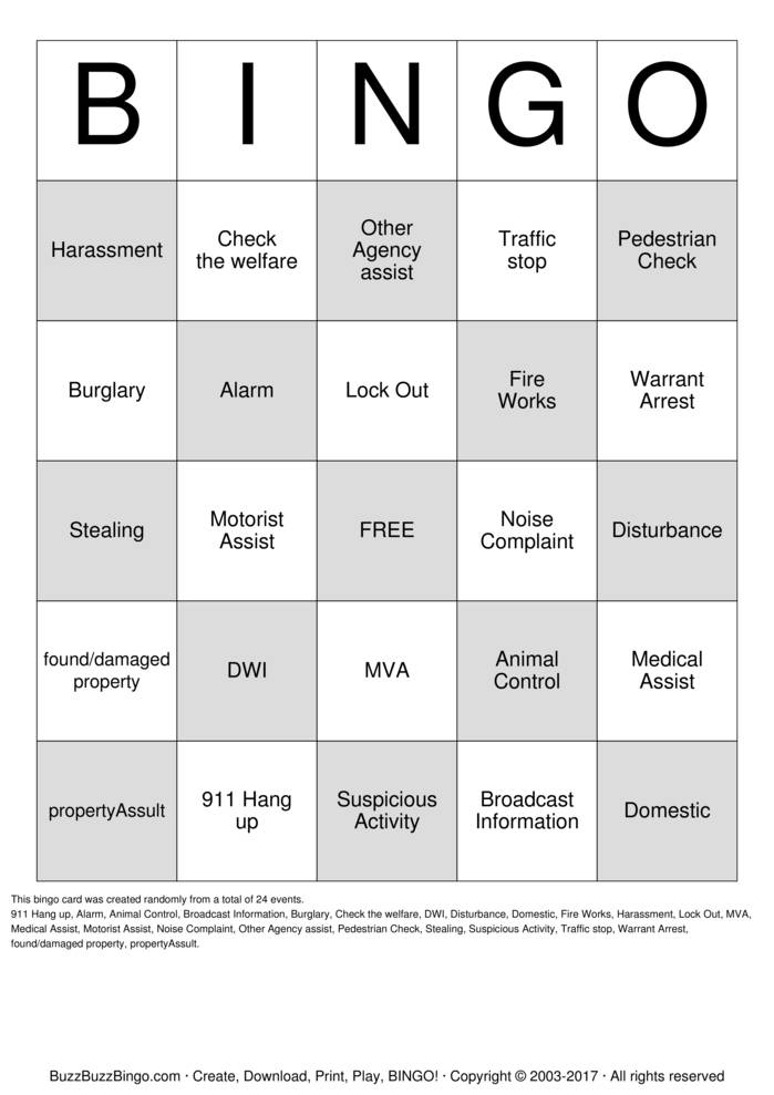 Dispatch Bingo! Bingo Cards to Download, Print and Customize!