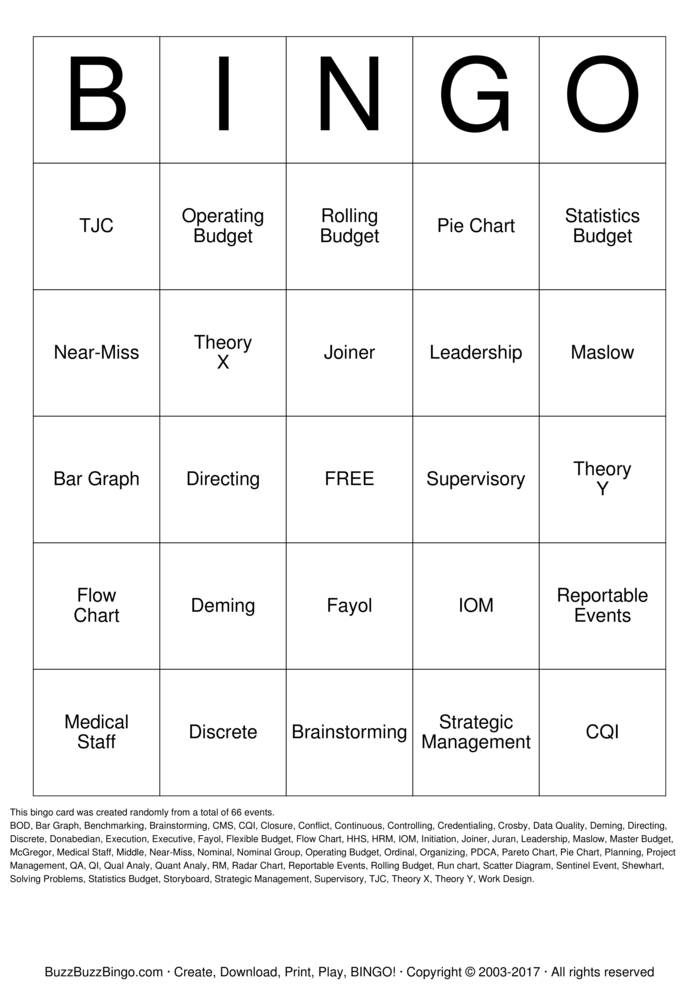 Download Organization, Management & Quality Bingo Cards