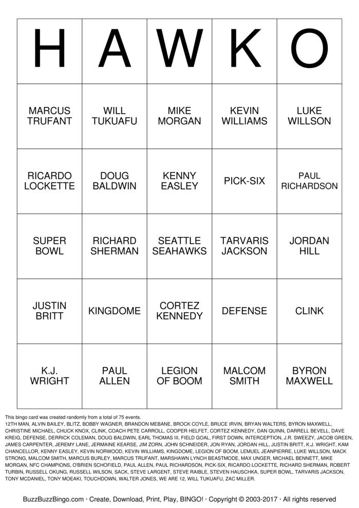 Download SEAHAWKS Bingo Cards