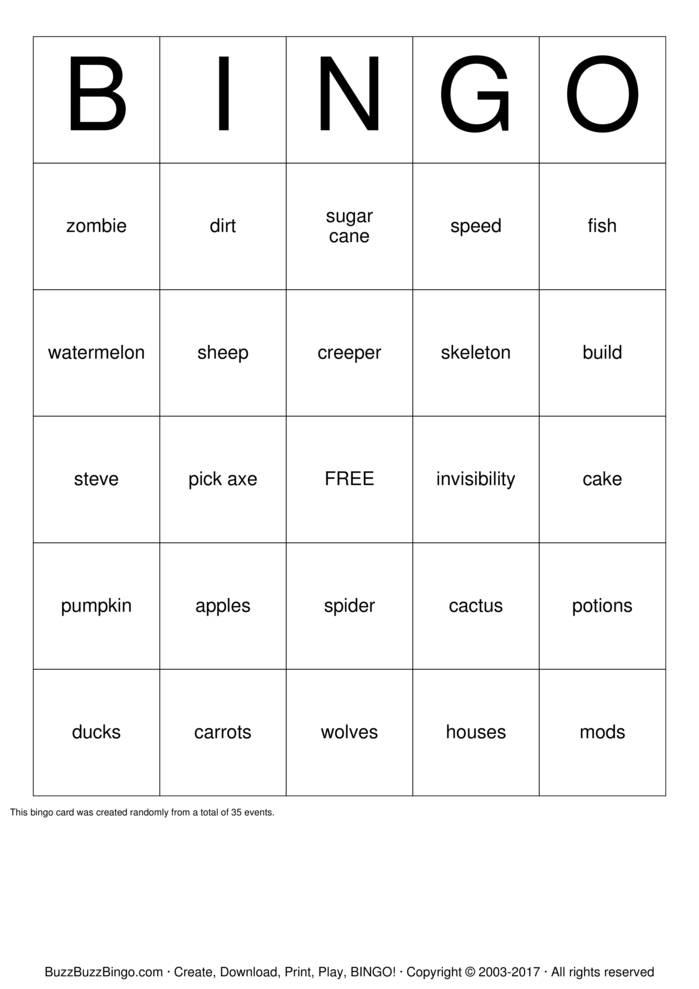 Download MineCraft Bingo Bingo Cards