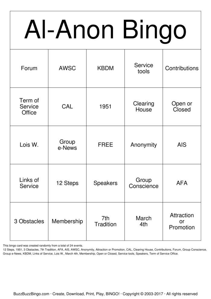 Download Al-Anon Bingo Bingo Cards