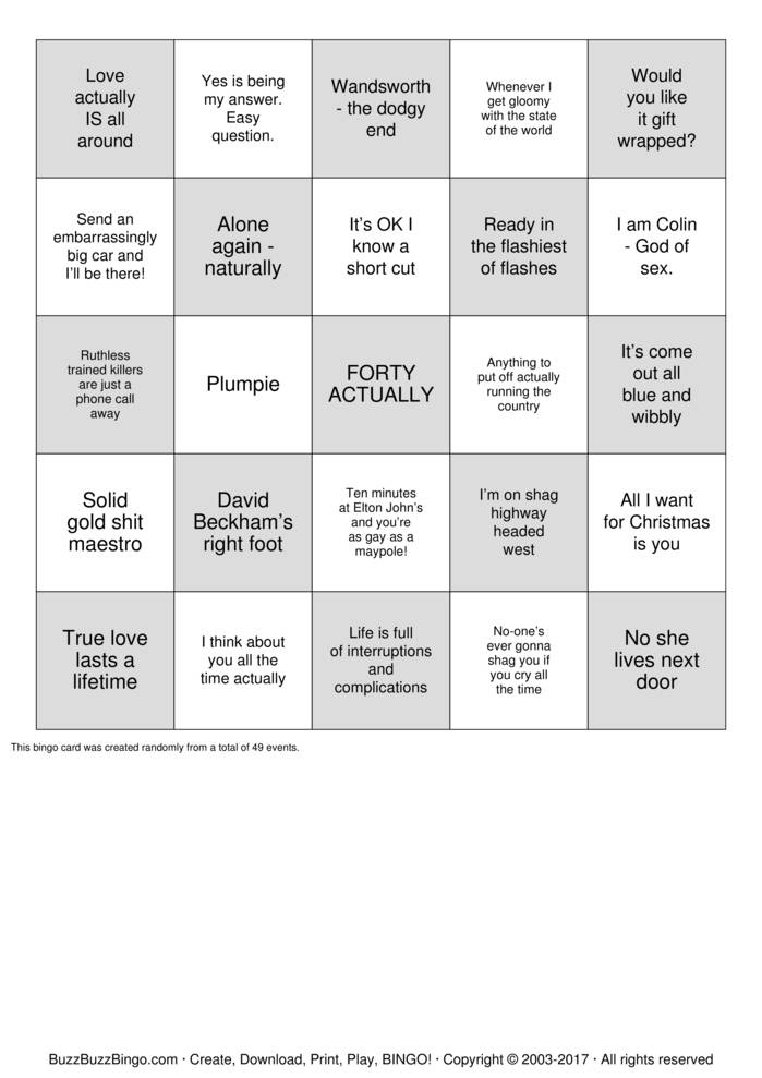 Download BINGO ACTUALLY Bingo Cards