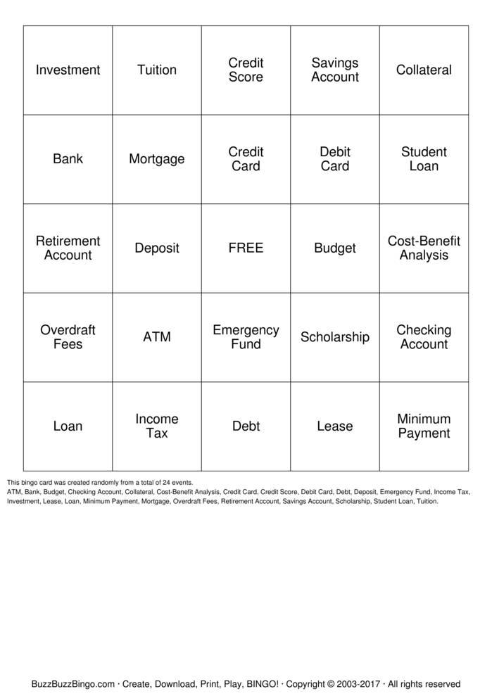 Download Money Management Bingo Cards