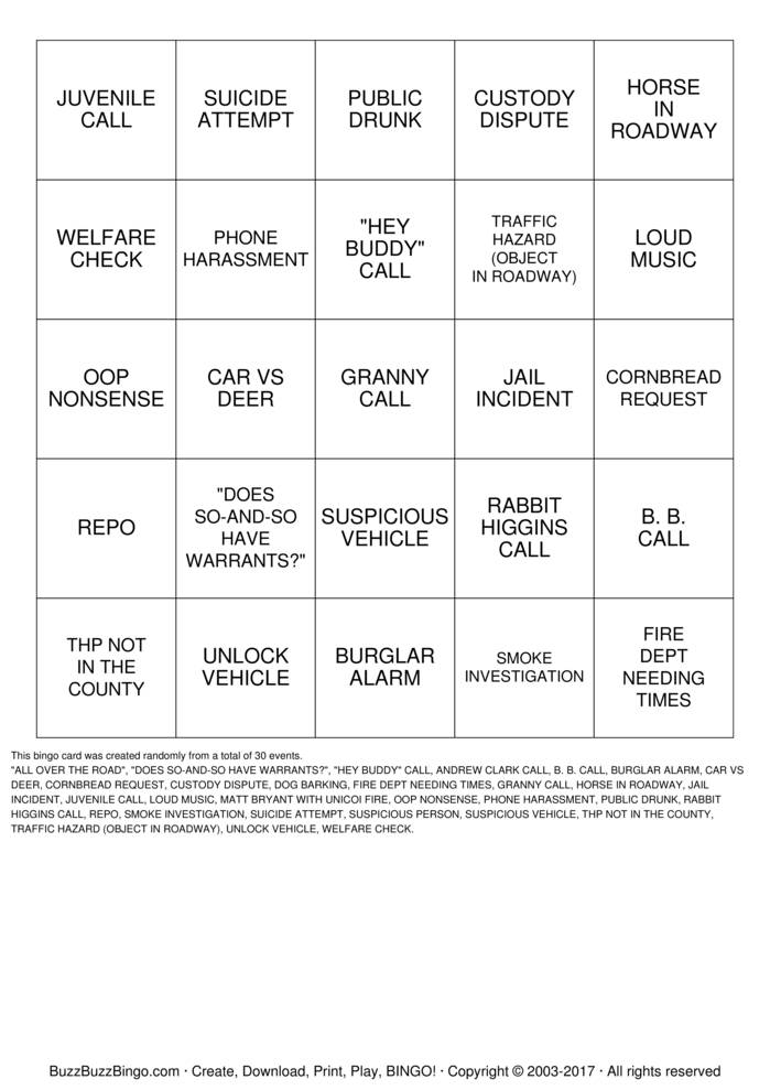 UNICOI 911 BINGO Bingo Cards to Download, Print and Customize!