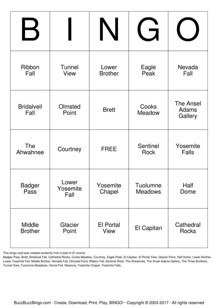 Download Brett & Courtney's Yosemite Bingo Cards