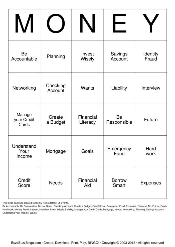Download Financial Literacy Bingo Cards