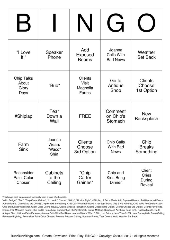 Download Fixer Upper Bingo Cards