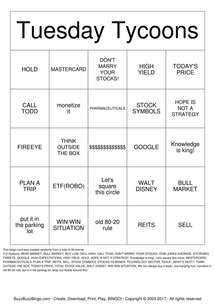 Download TUESDAY TYCOONS Bingo Cards