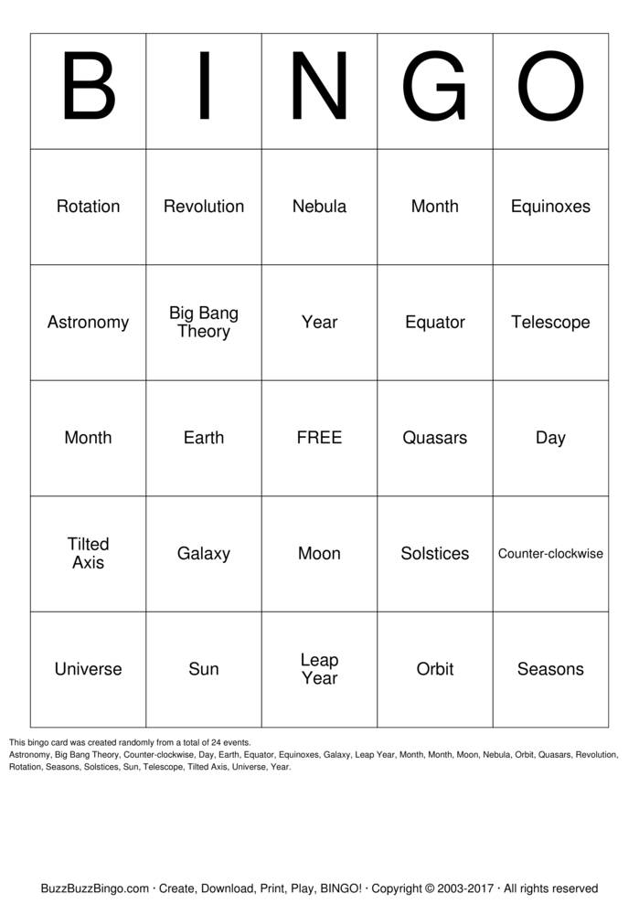 Download Astronomy Bingo Cards