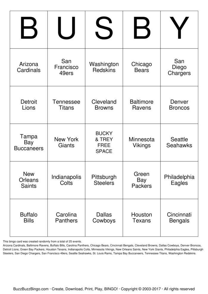 Download Football Team Names Bingo Cards
