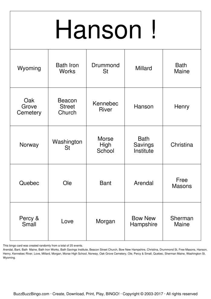 Download Hanson  Bingo Cards