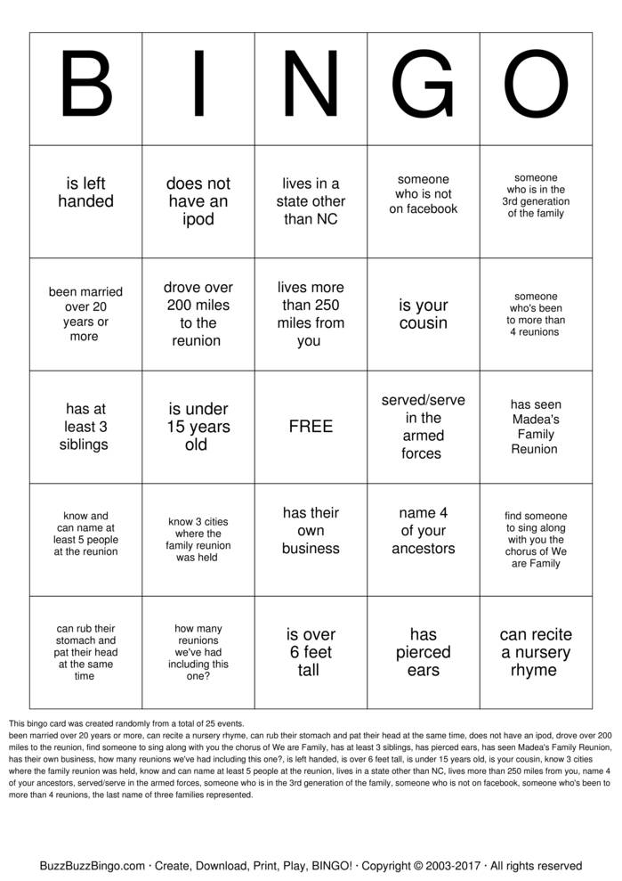 Lawrence Family Reunion  Bingo Card