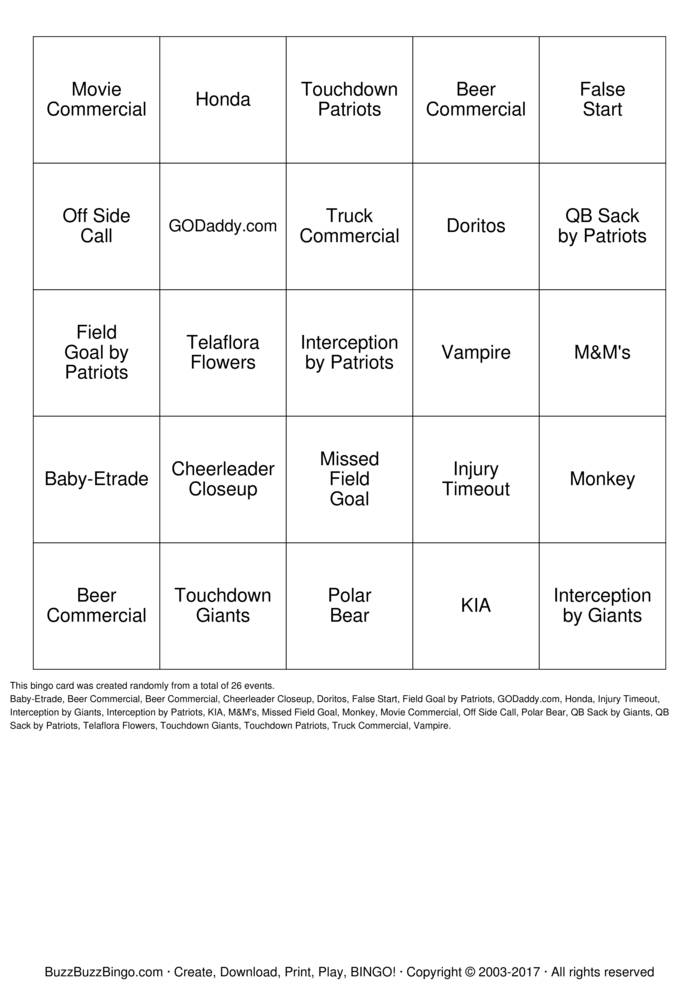 Download Supper Bowl Bingo Cards