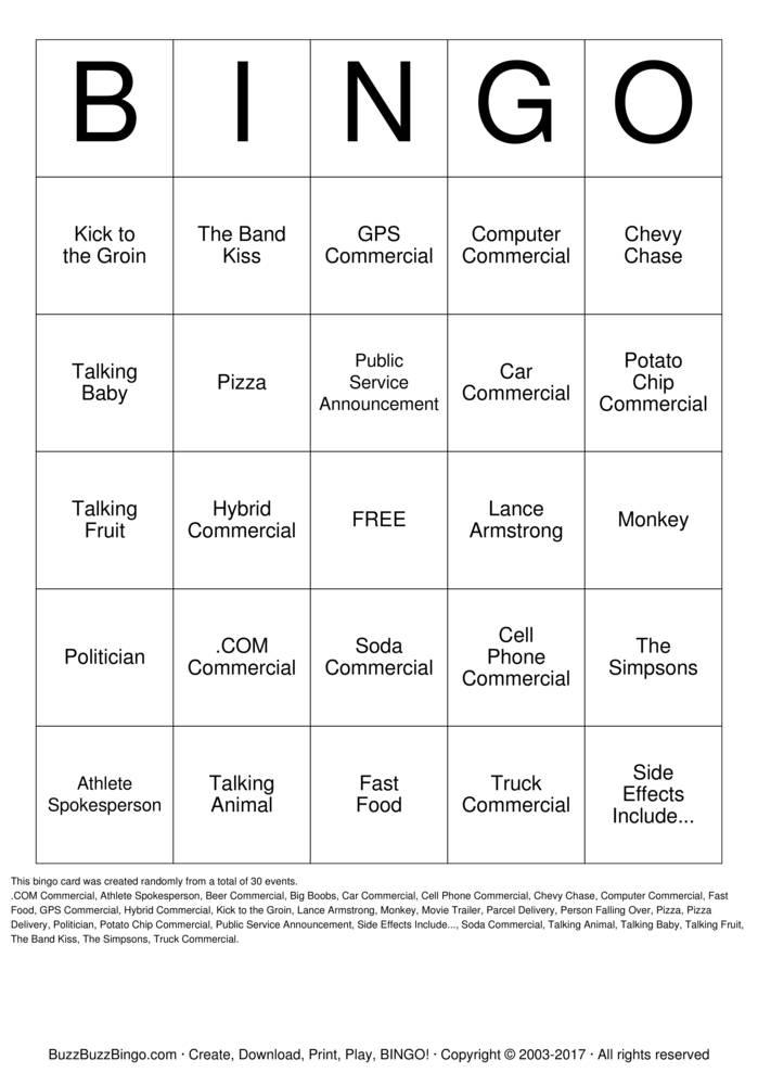Download 2012 Superbowl Commercials Bingo Cards