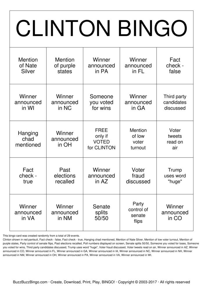 2016 Clinton Election Night Bingo Card